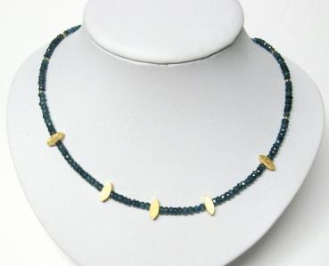 London Blue Topas Halskette/Collier mit 925 Silber vergoldet